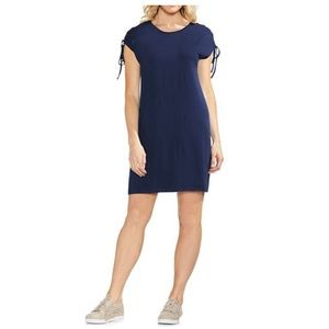Vince Camuto lace up shoulder navy dress NWT
